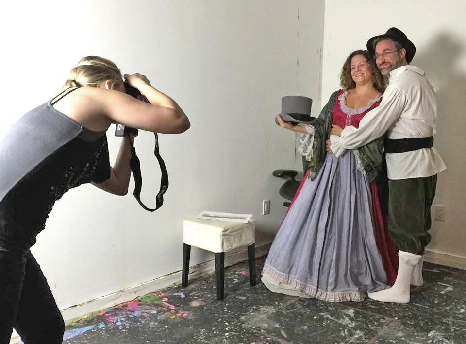 Jeanine photographing friends modeling in period costumes.