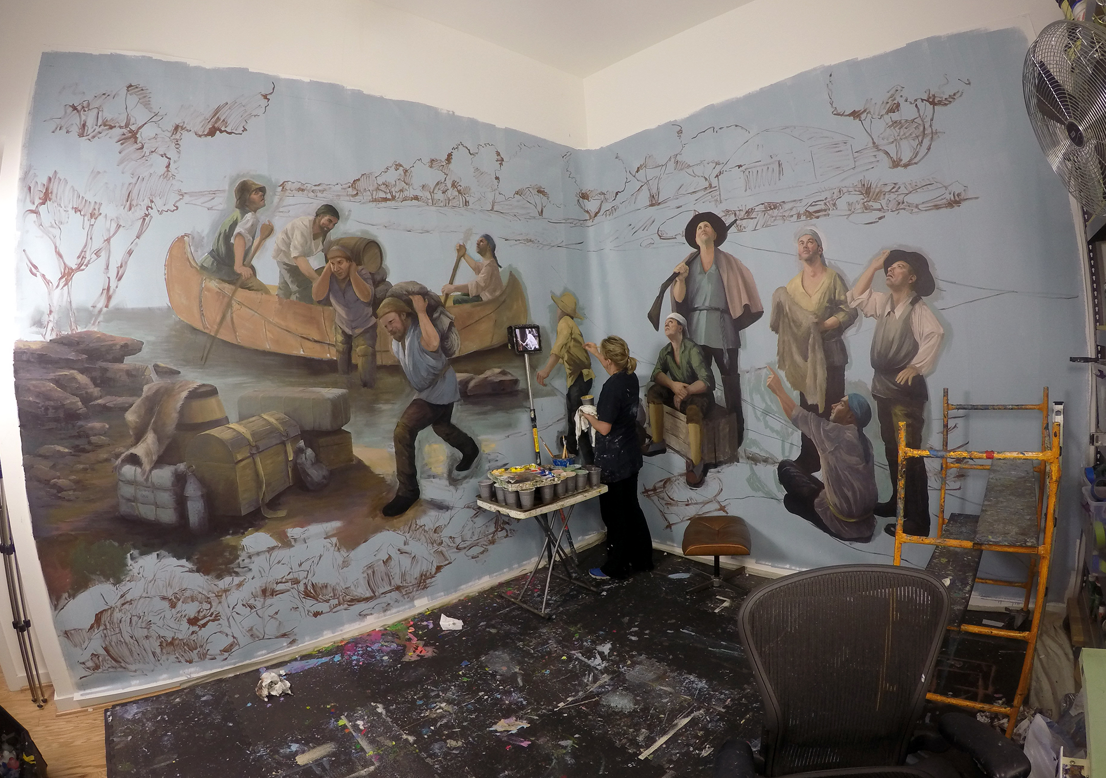 Progress Photo:Painting mural in Los Angeles Studio (bottom 1/2 of mural)