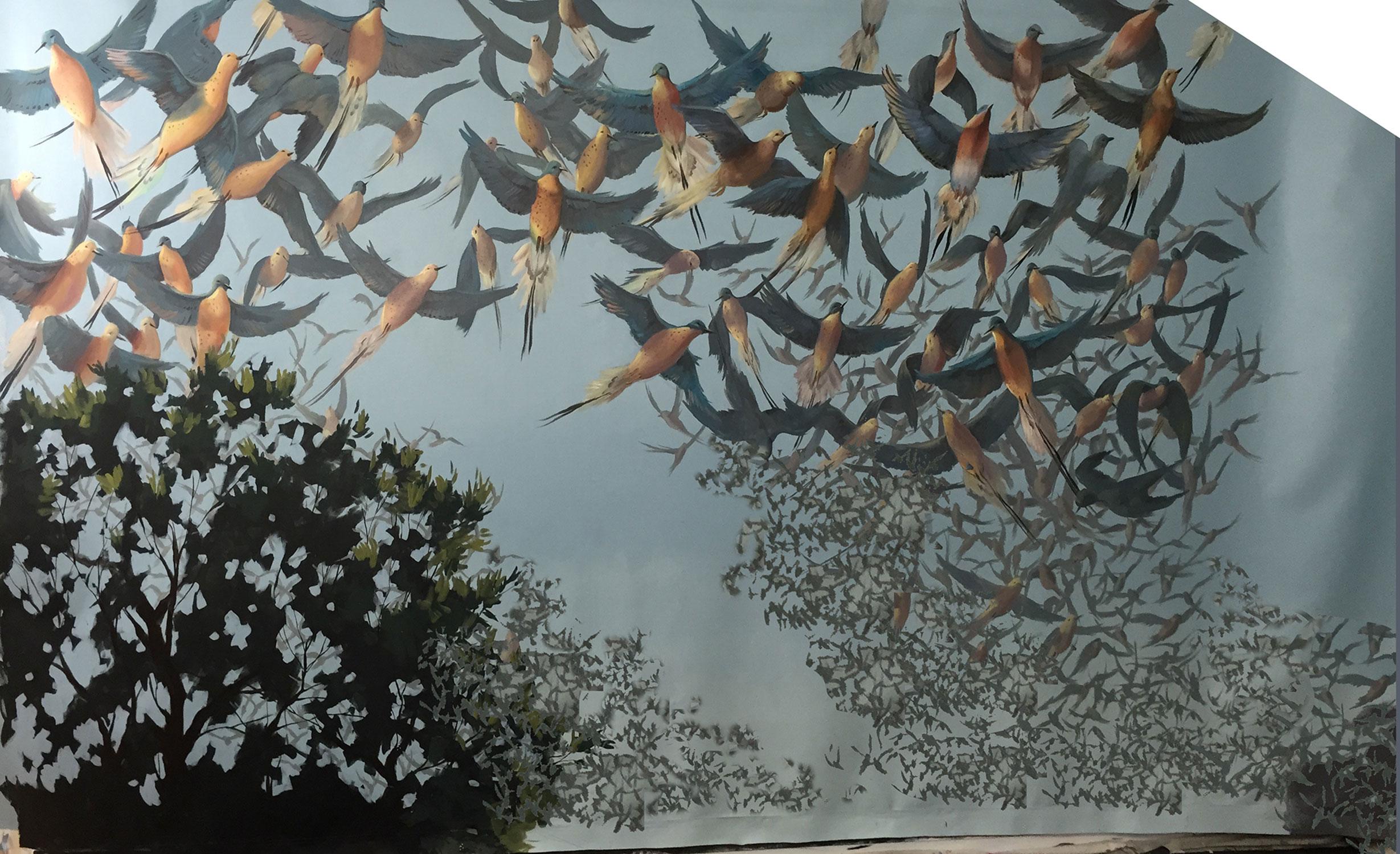 Progress Photo: Paint mural in Los Angeles Studio (top 1/2 of mural).