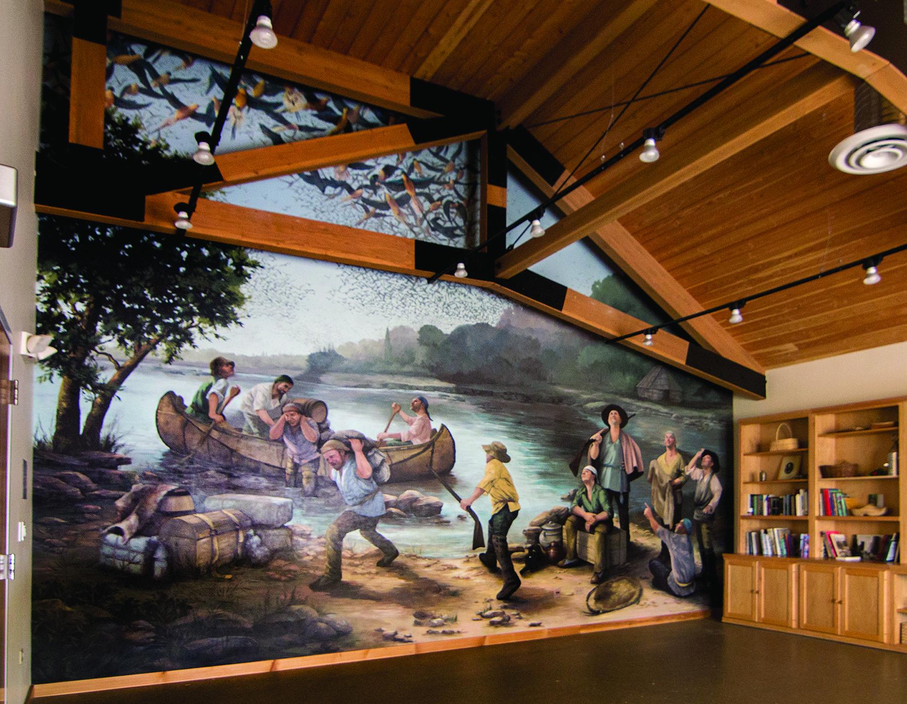 """Isle a la Cache Museum, """"Passenger Pigeons over Voyageurs"""""""