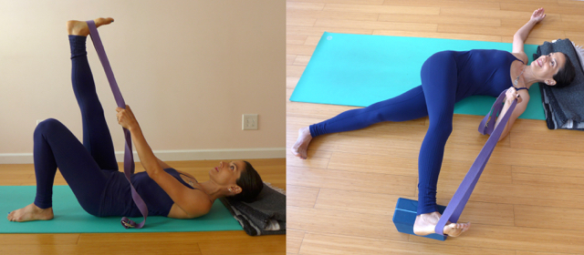 1. TWO-PART HAND TO BIG TOE POSE WITH A STRAP