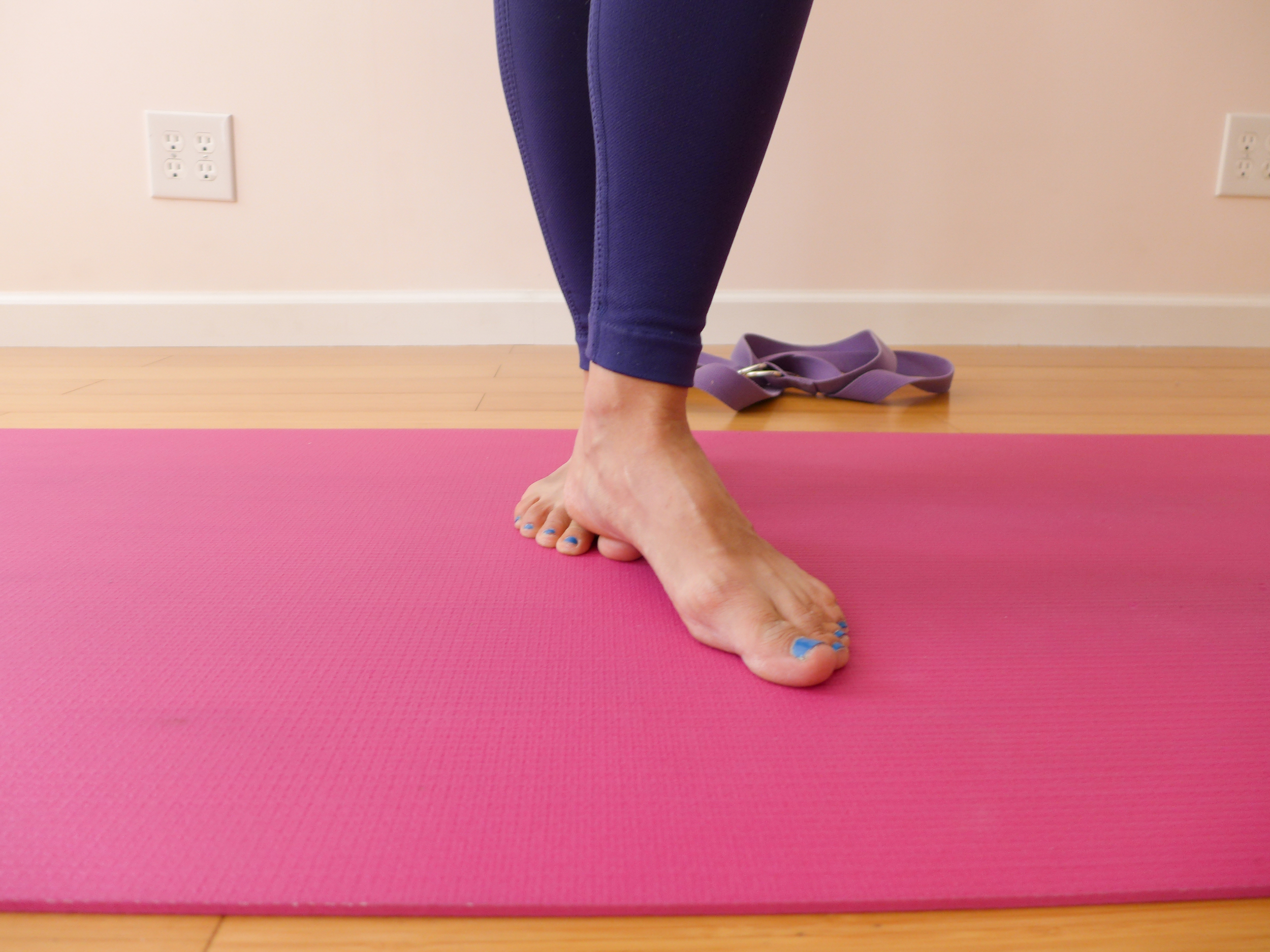 6. TOE TAPS (shin splint prevention). Set up in this position and tap your left toes up and down as quickly as you can, then switch sides.