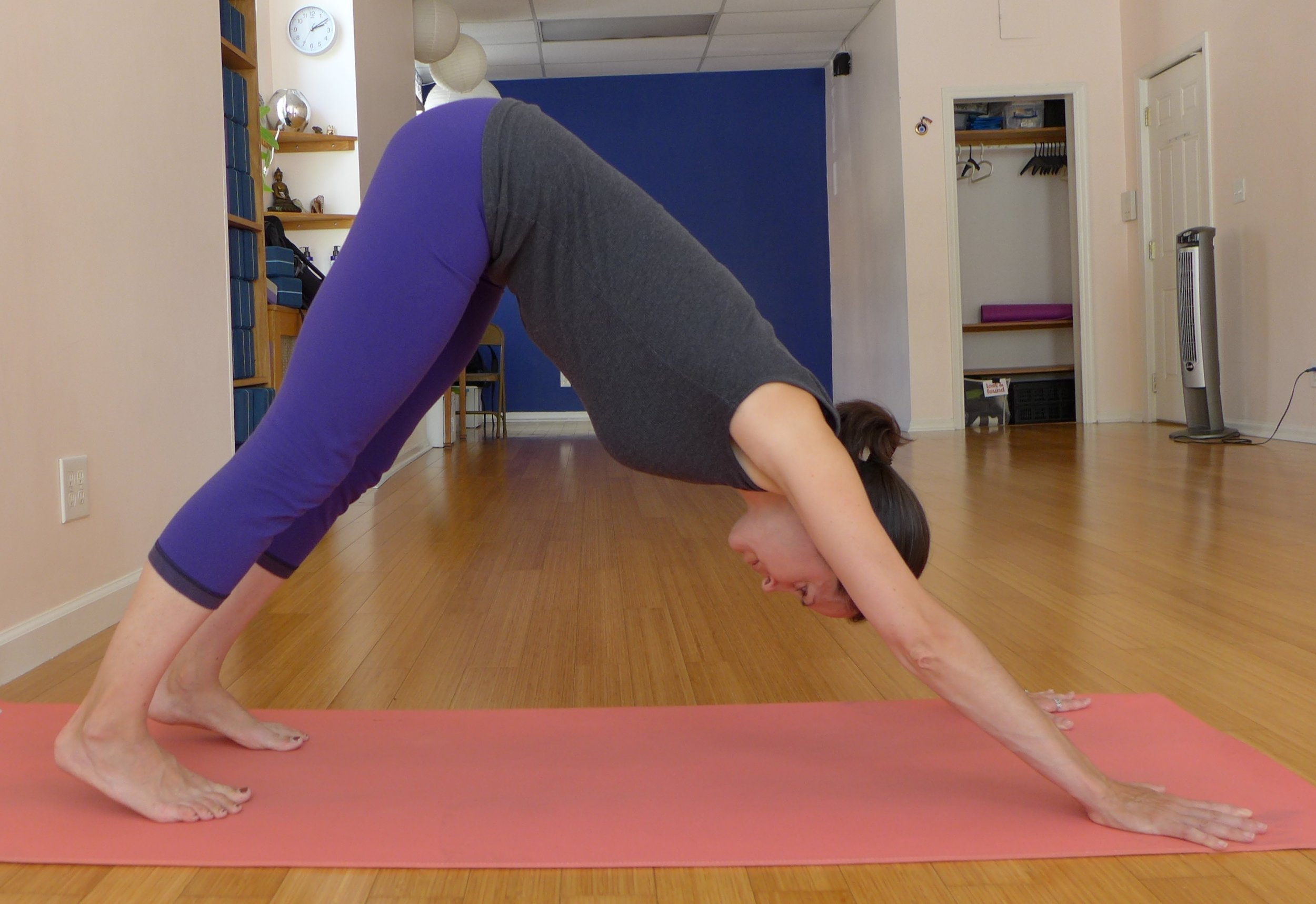 Downward Facing Dog: Great back body stretch as well as enhancing thoracic mobility.