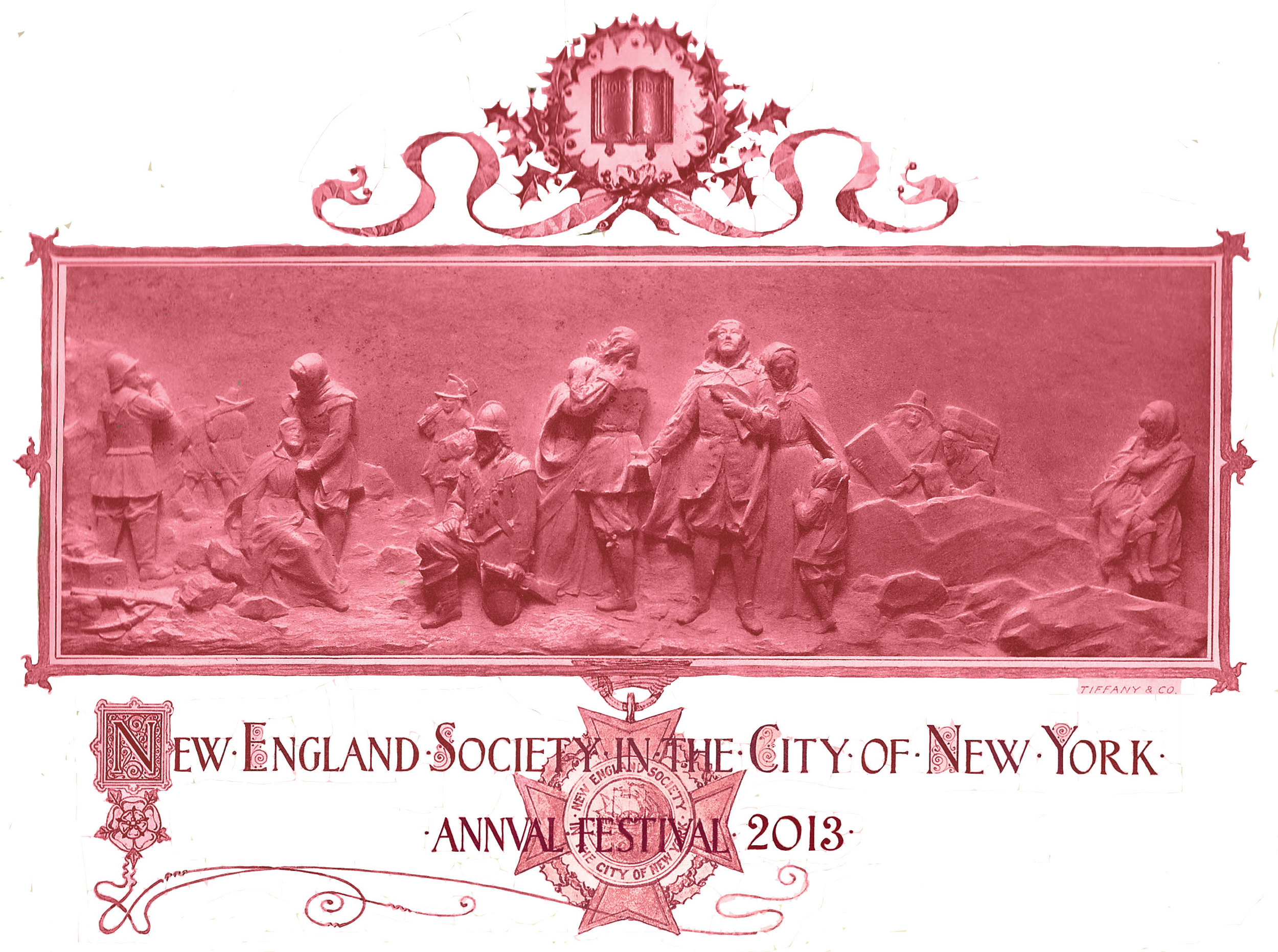 Illustration taken from the 1901 New England Society Annual Festival Invitation, Designed by Tiffany & Co.