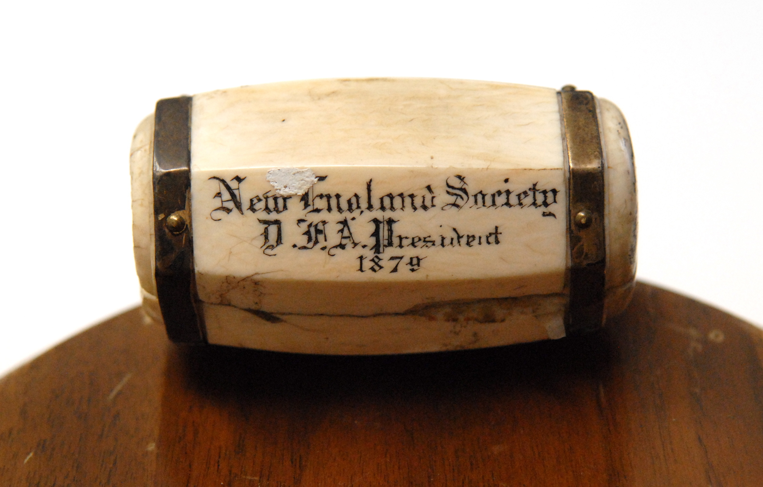 "NES President's ivory-topped gavel, inscribed ""New England Society, D.F.A, President, 1879"". D.F.A. were the initials of the 19th President, Daniel F. Appleton, who served from 1877-1879."