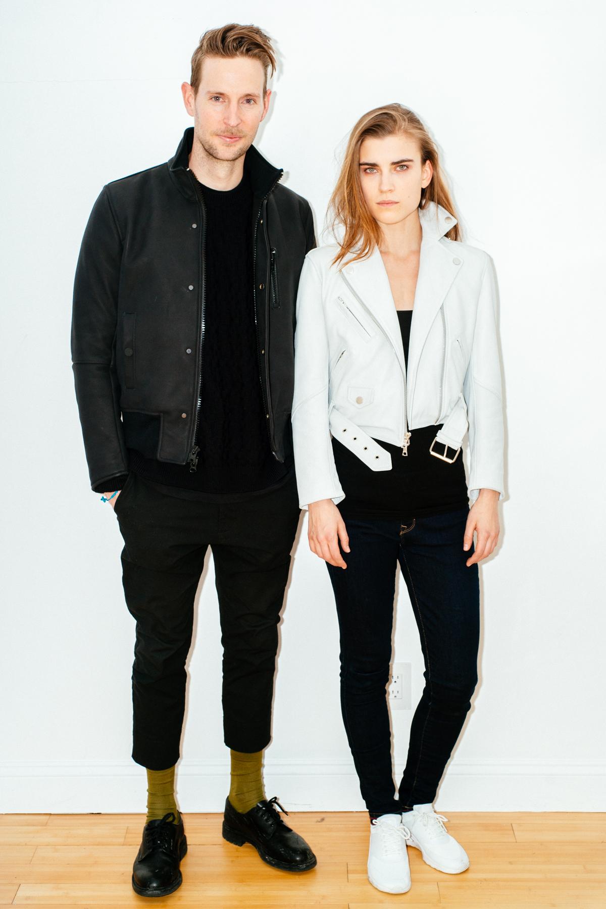 Jeff wearing BOND Modular Matte Leather Bomber,Jana in Vaä