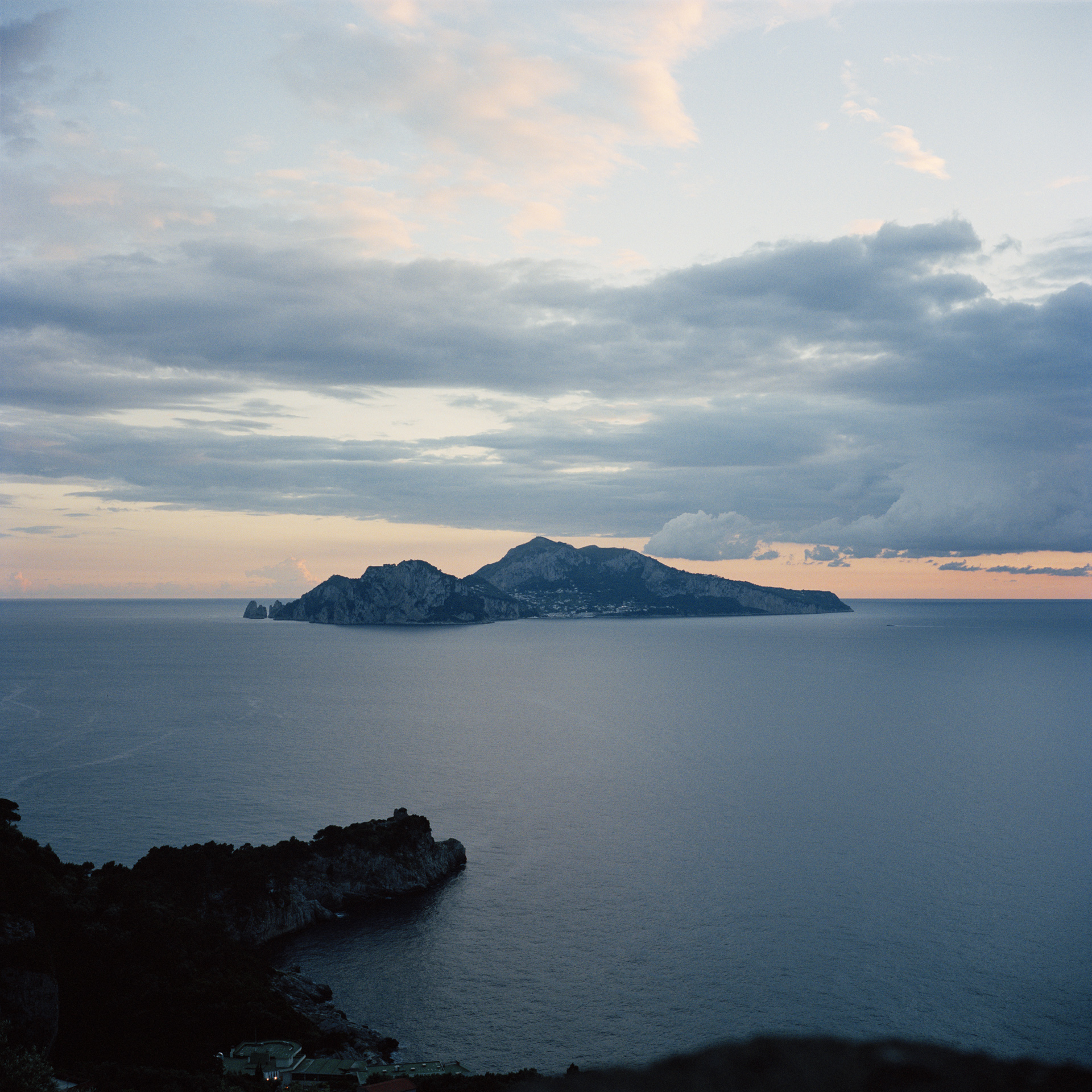 Island of Capri at dusk, photographed from Massa Lubrense.