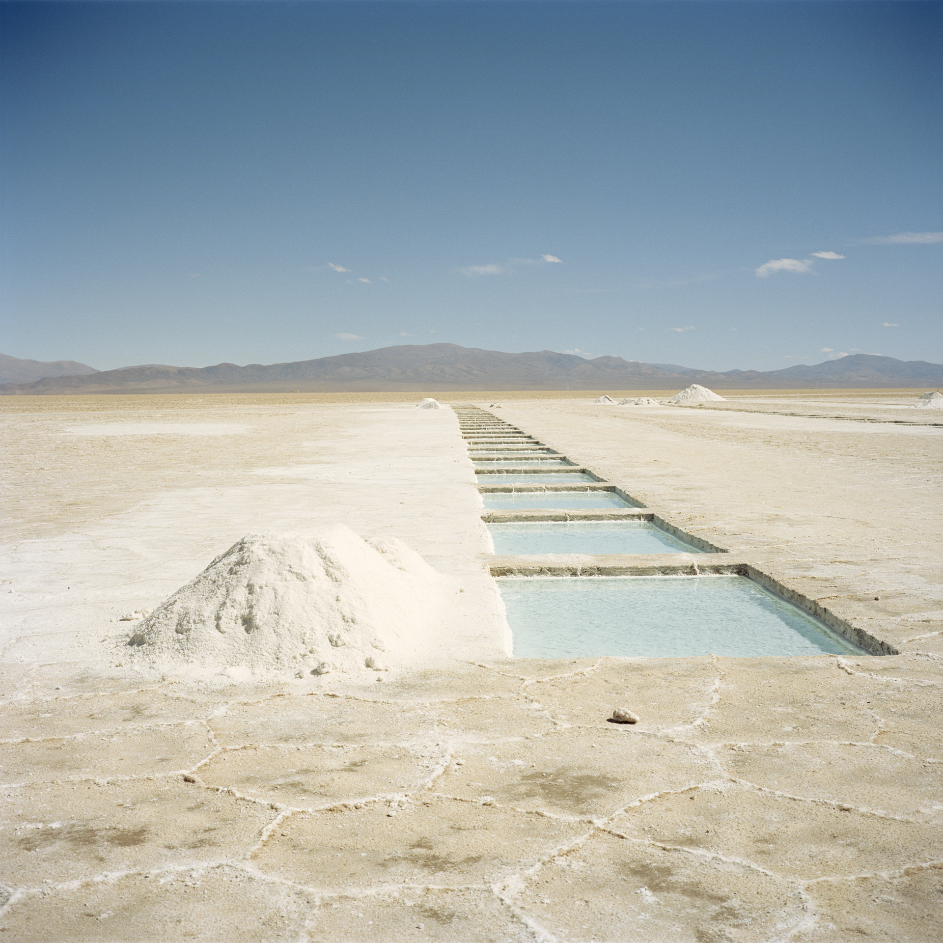 Jujuy Province. Salinas Grande is the biggest salt flat in Argentina, 60 kms in length and covering an area roughly 5200km2, at an altitude of 3350 meters. Salt is harvested from square pools dug into the crystalline salt plain.