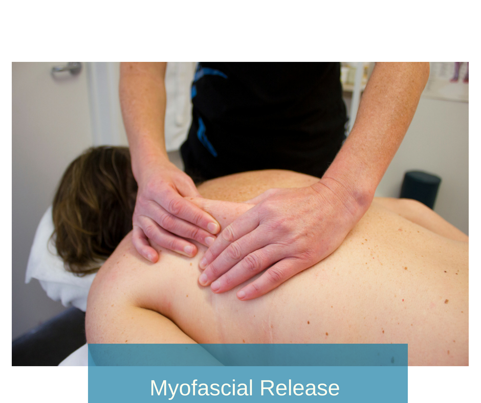 Myofascial Release  - refers to the manual massage technique for stretching the fascia and releasing bonds between fascia (the white connective tissue) and muscles with the goal of eliminating pain, increasing range of motion, and correcting postural distortions. (see cupping below)