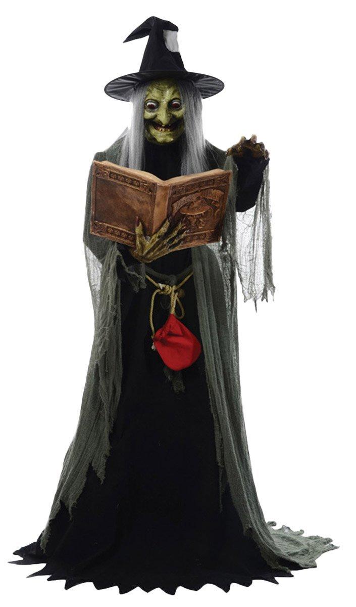"Halloween 72/"" Animatronic Haunted House Spirit Sound Motion Witch Skull Props"
