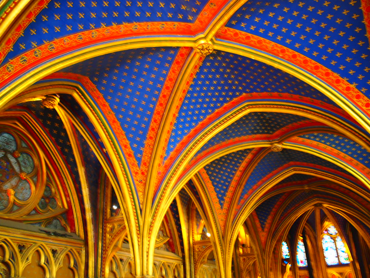 ceiling in the lower chapel of Sainte-Chappelle, another can't-miss