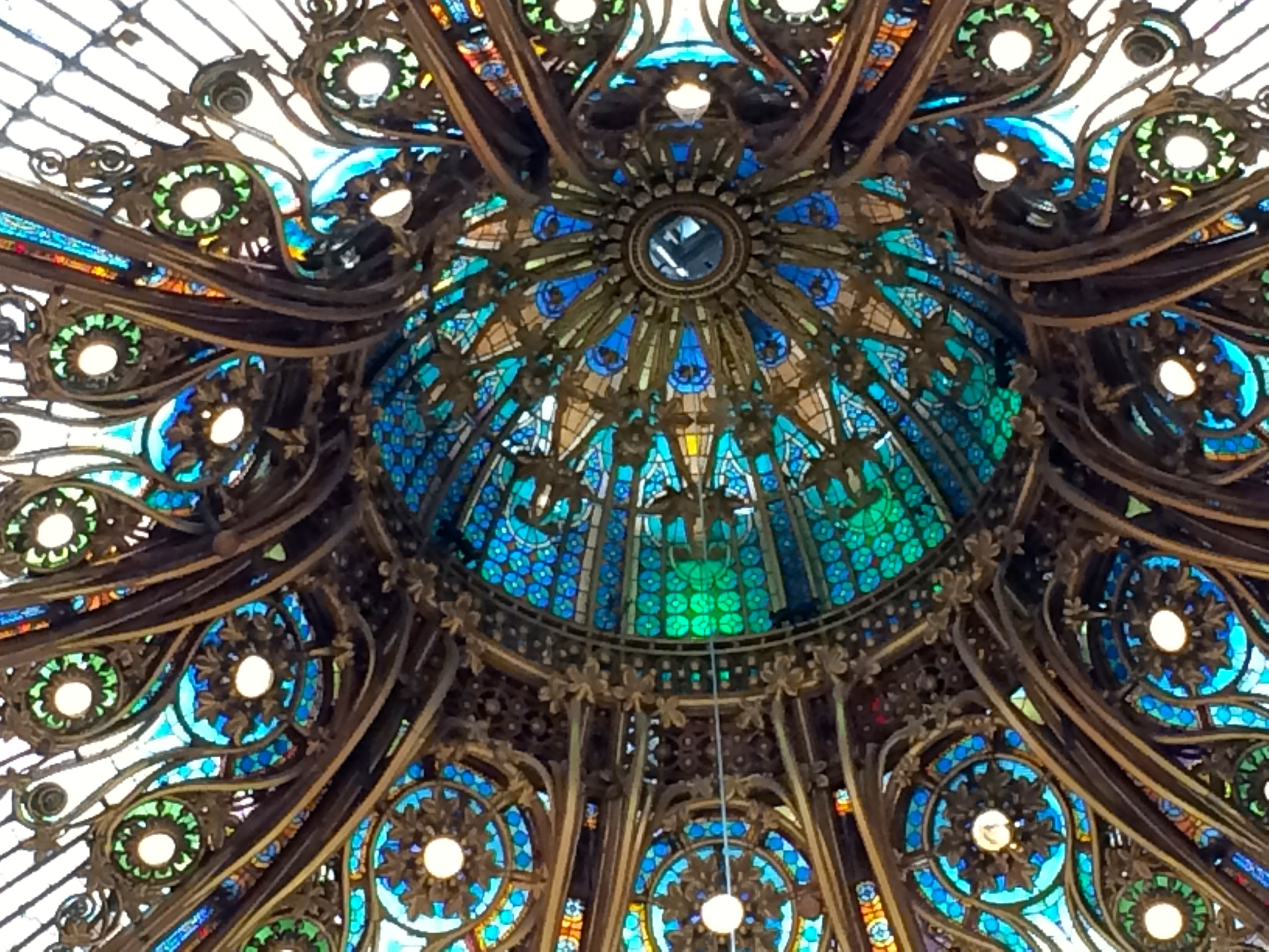 And I couldn't resist one more of the center of the stained glass dome, Galeries Lafayette. What must life have been life have been like when shopping here was the norm...