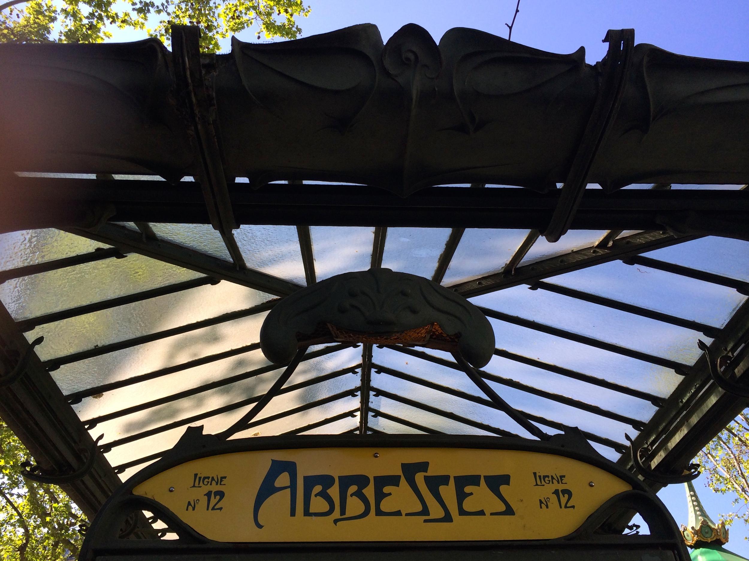 Characteristic Art Nouveau sign at Métro entrances