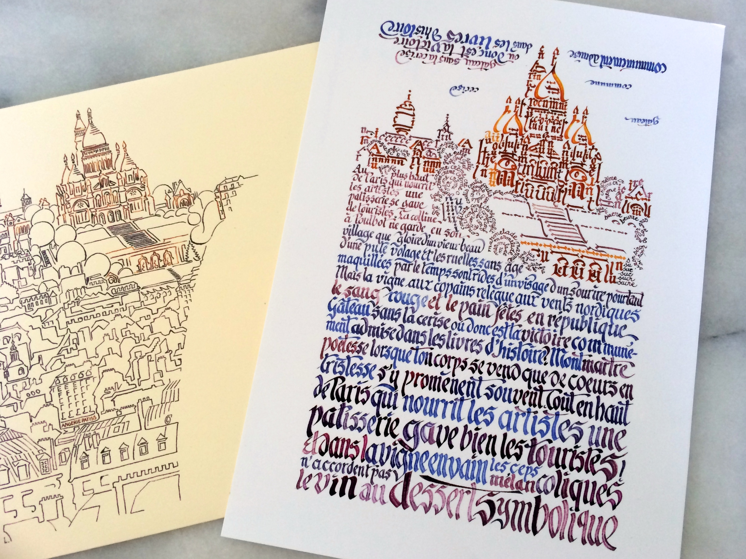 beautiful large calligraphy postcard of the Sacré Coeur cathedral with its equally beautiful envelope.