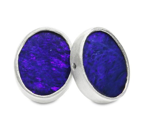 889fc6e83642f Sterling Silver and Dark Blue Opal Stud Earrings — Jodi Rae Designs