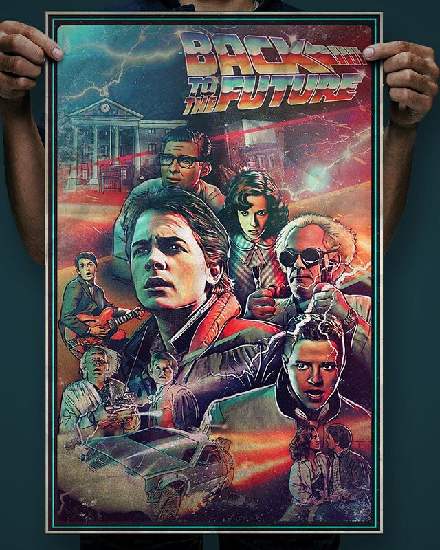 """4th poster in my """"Time Travel"""" series. And one of my favorite movies of all time!! #bttf #backtothefuture #poster #martymcfly #docbrown #bifftannen #timetravel #80smovies #80s #80sart #posterdesign #movieposter"""
