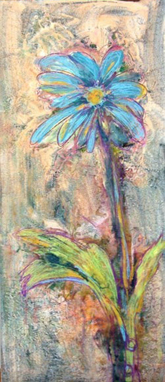 Impressionistic Blue Daisy