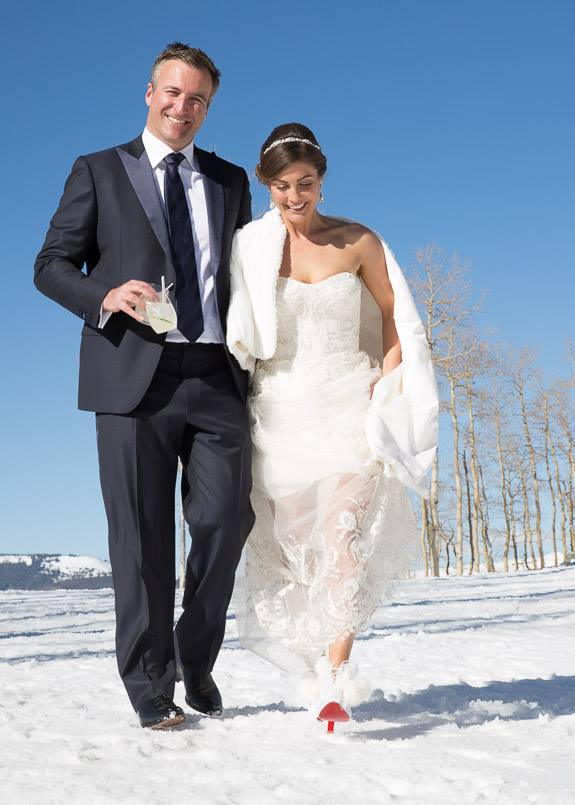 Me fully understanding my wedding shoes because I am walking in heels on snow and feel totally comfortable with that!