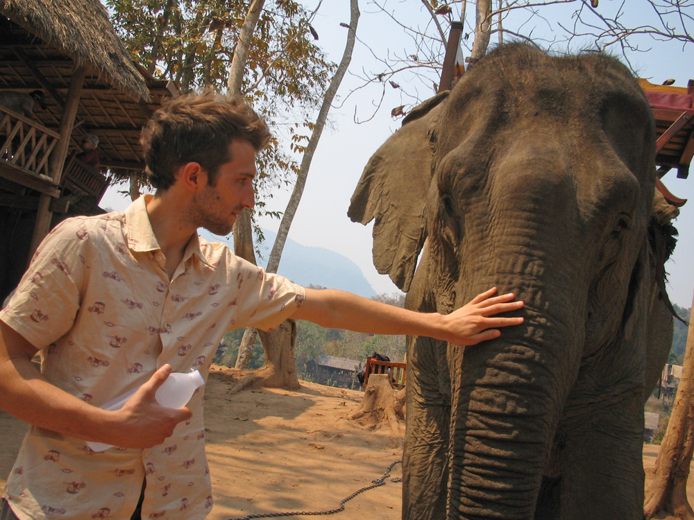 Steven at an elephant rehab sanctuary in Thailand back in 2007.