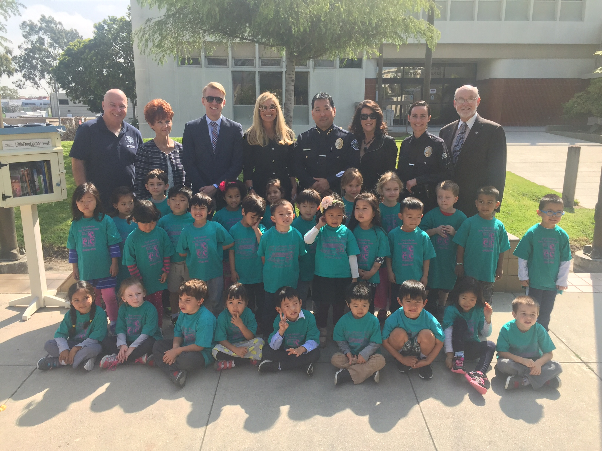 A ribbon cutting event and the reading of a story to a class of 35 pre-schoolers from First Lutheran school in Torrance took place Monday morning.