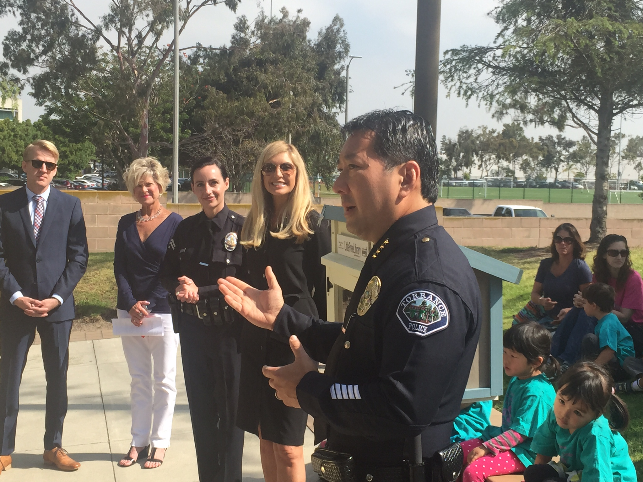 """""""Child custody exchanges take place in the police department lobby regularlyandthe Little Free Library will be a welcoming activity for all involved."""" - Torrance Chief of Police, Mark Matsuda"""