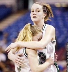 Tori Markey hugs Jenny Brasch after she fouls out in the final moments of the Mats loss to Bishop Montgomery in 2002.