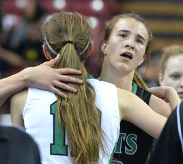 Miramonte's Sabrina Lonescu and St. Mary's Kat Tudor embrace after a hard fought NorCal Finals