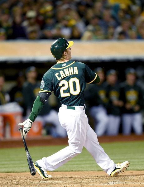 Jon Zuber's former pupil, Mark Canha, has been on fire for the A's thus far. (photo by Thearon W. Henderson)