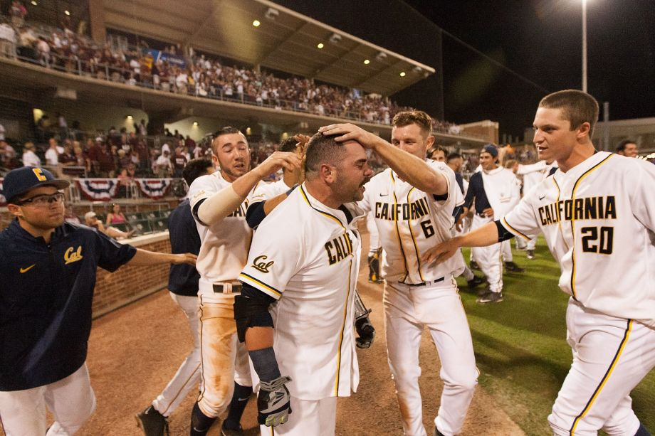 """CAL catcher and De La Salle alum, Mitchell """"El Gaucho"""" Kranson celebrates a 14th inning walk-off homer to beat Texas A&M in the NCAA Tournament.(photo by Juan DeLeon, AP)"""