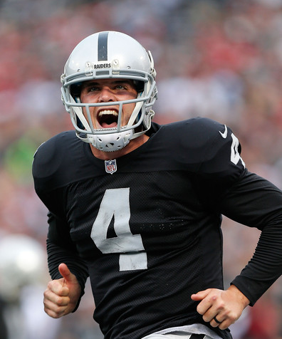 Derek Carr reminds some East bay fans of another #4, Brett Favre.(photo by Brian Bahr)