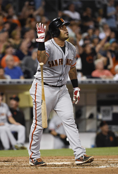 Hector Sanchez stops to admire his grand slam on Tuesday night in San Diego. The pose caused benches to clear at Petco Park. (photo by Denis Poroy)