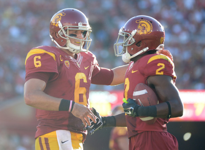 Cody Kessler and Adoree' Jackson of USC (photo by Harry How)
