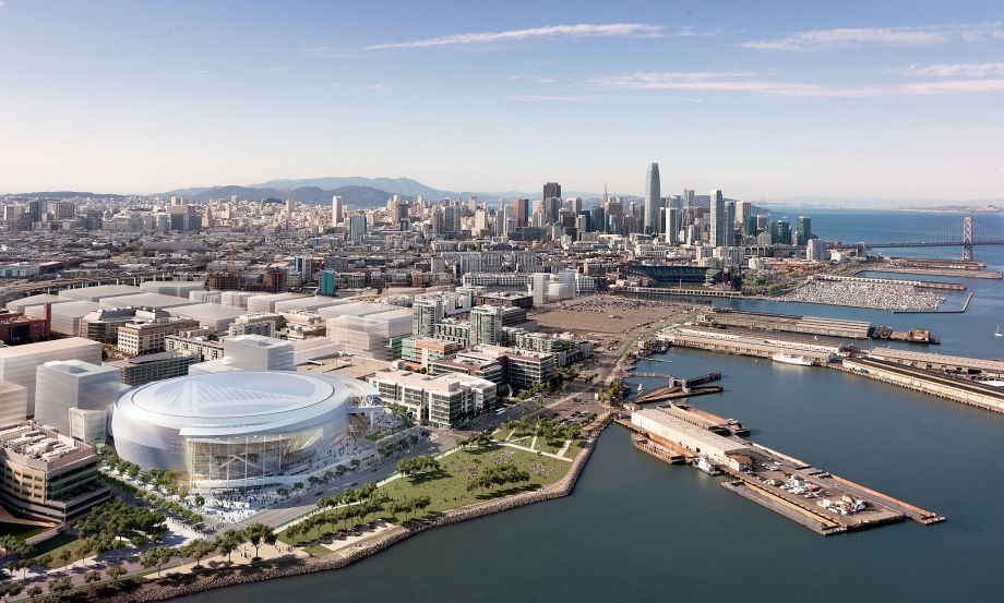 This new Mission Bay arena next to UCSF medical center would potentially open for the Warriors' 2018-19 season. (Photo via MANICA Architecture)