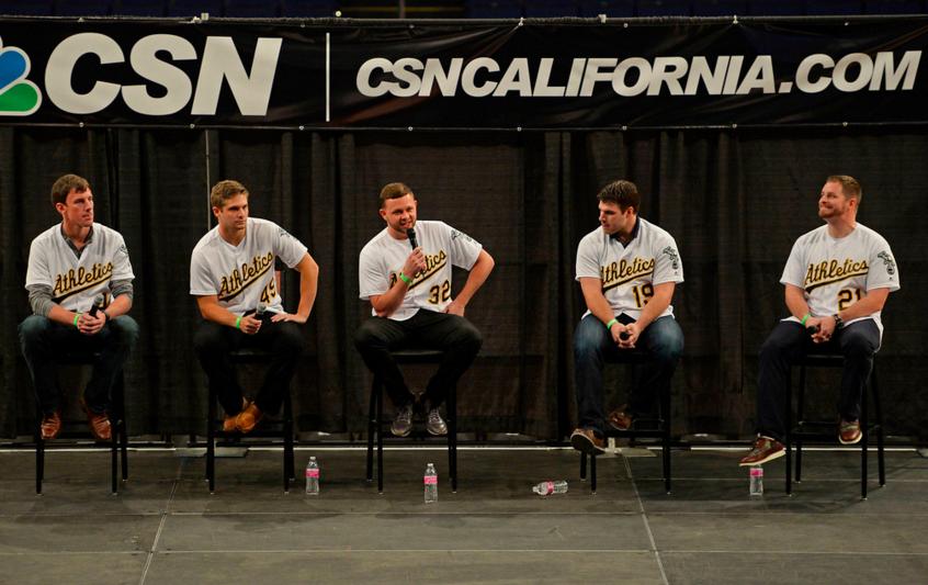 From left to right: Chris Bassitt, Kendall Graveman, Jesse Hahn, Josh Phegley, and Stephen Vogt (photo by Jose Carlos Fajardo)