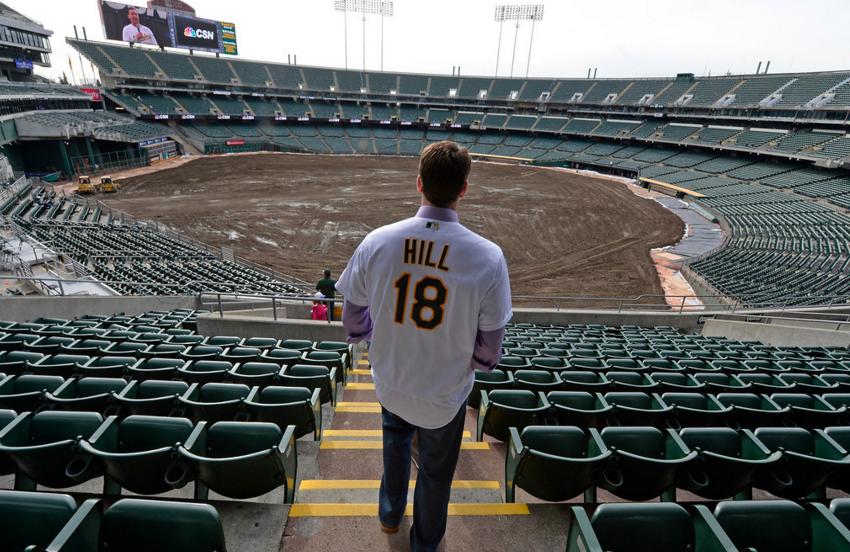 A's hurler Rich Hill ponders his future in Oakland... (photo by Jose Carlos Fajardo)