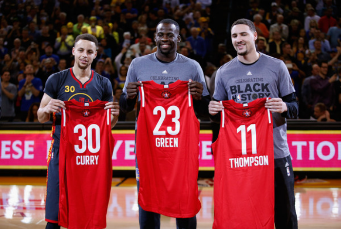 The Warriors Big Three are headed north of the border for All-Star Weekend in Toronto after Wednesday's game. (photo by Ezra Shaw)