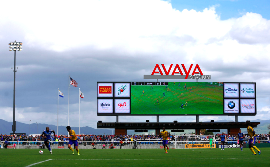 The San Jose Earthquakes during Sunday's season opening win versus Colorado.(photo by Nhat V. Meyer)