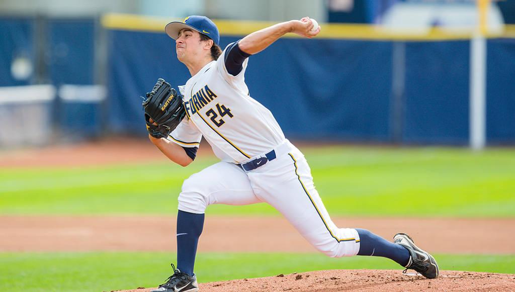 Campolindo HS grad Matt Ladrech threw 7.2 innings of no-hit relief to beat OSU. (photo via calbeaers.com)