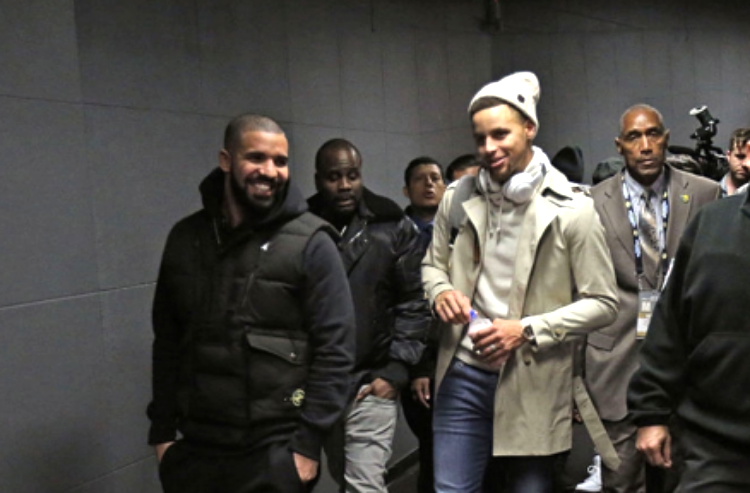 Drake and Steph following last December's Dubs-Raptors game in Toronto (photo by Dave Sanford)