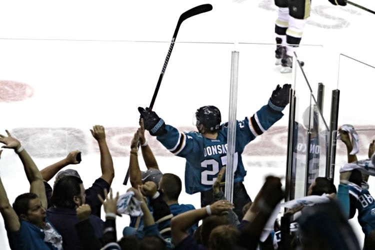 Joonas Donskoi celebrates his top-shelf game winnning goal on Saturday night. (photo by Bruce Bennett)
