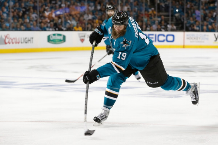 Joe Thornton fires a puck on net during the 2016 Stanley Cup.(photo by Christian Petersen)