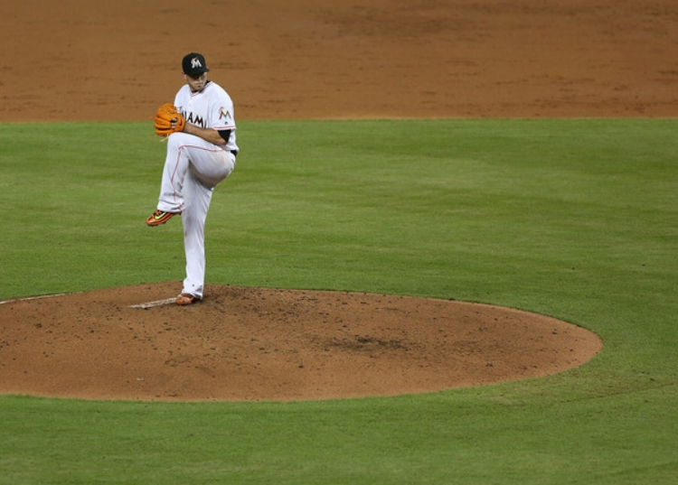 Jose Fernadez pitching in Miami on September 8th.(Photo by Marc Serota)