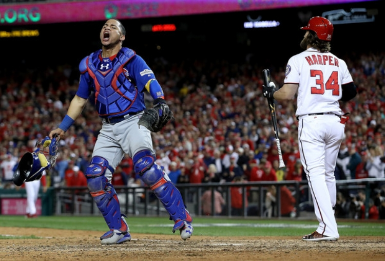 Bryce Harper went down swinging to send the Cubs to the NLCS on Thursday (photo by Win McNamee)