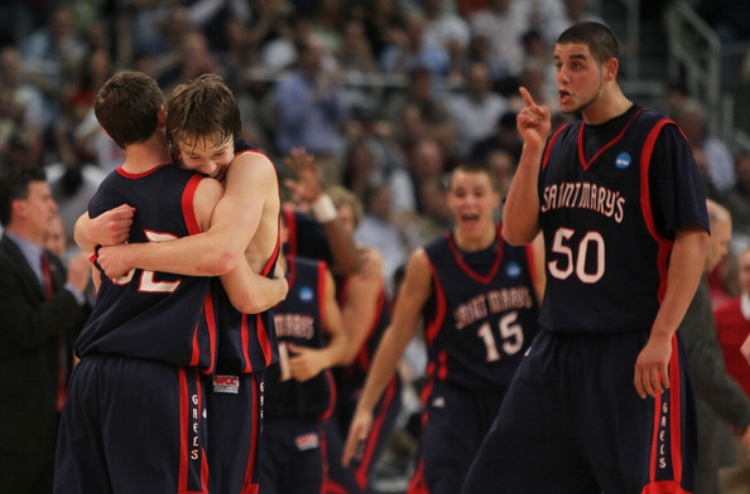 The Gaels celebrate after beating Villanova in the 2010 Tournament to punch their ticket to the Sweet 16. (photo by Jim Rogash)