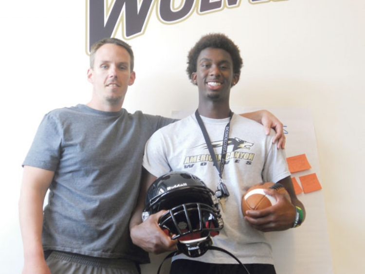 Seisay pictured with his high school coach at American Canyon, Ian MacMillan. (Photo by Marty James)