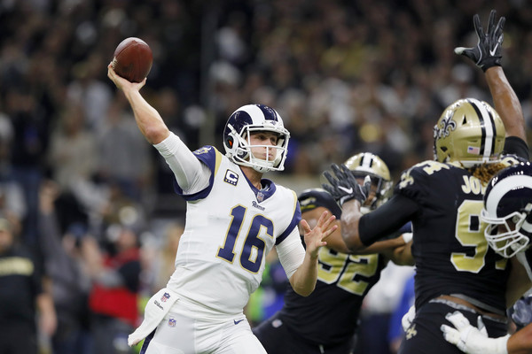 Brewed in Marin, Jared Goff showed Joe Montana-like qualities in the NFC title game inside a hostile Louisiana Superdome. (image via Getty)