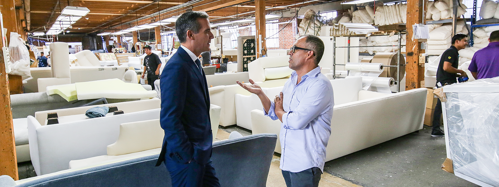 Los Angeles Mayor Gil Garcetti with Refoundry co-founder Cisco Pinedo at the Cisco Brothers factory in South Central, Los Angeles.