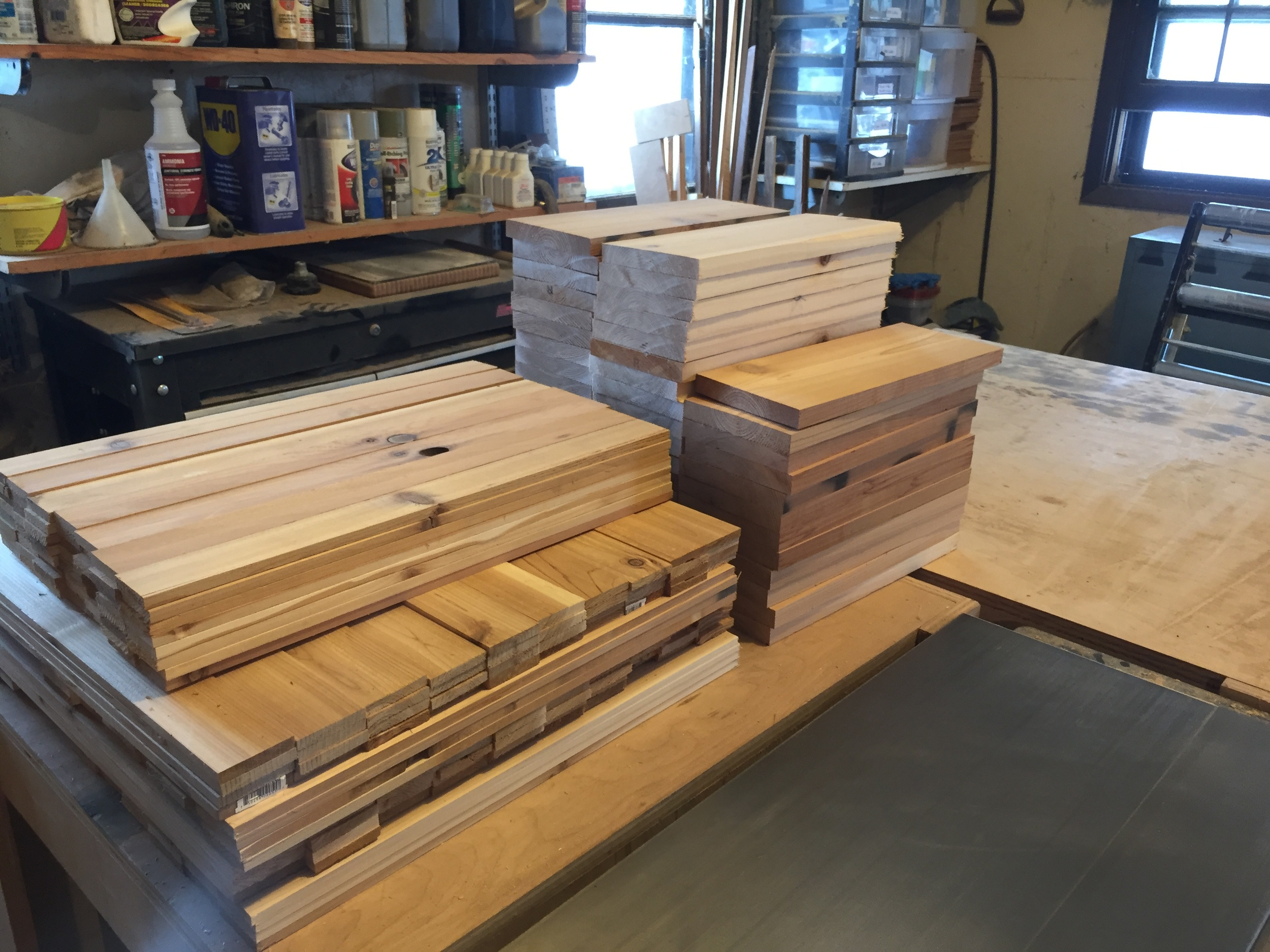 Parts for the construction of additional cedar crates.