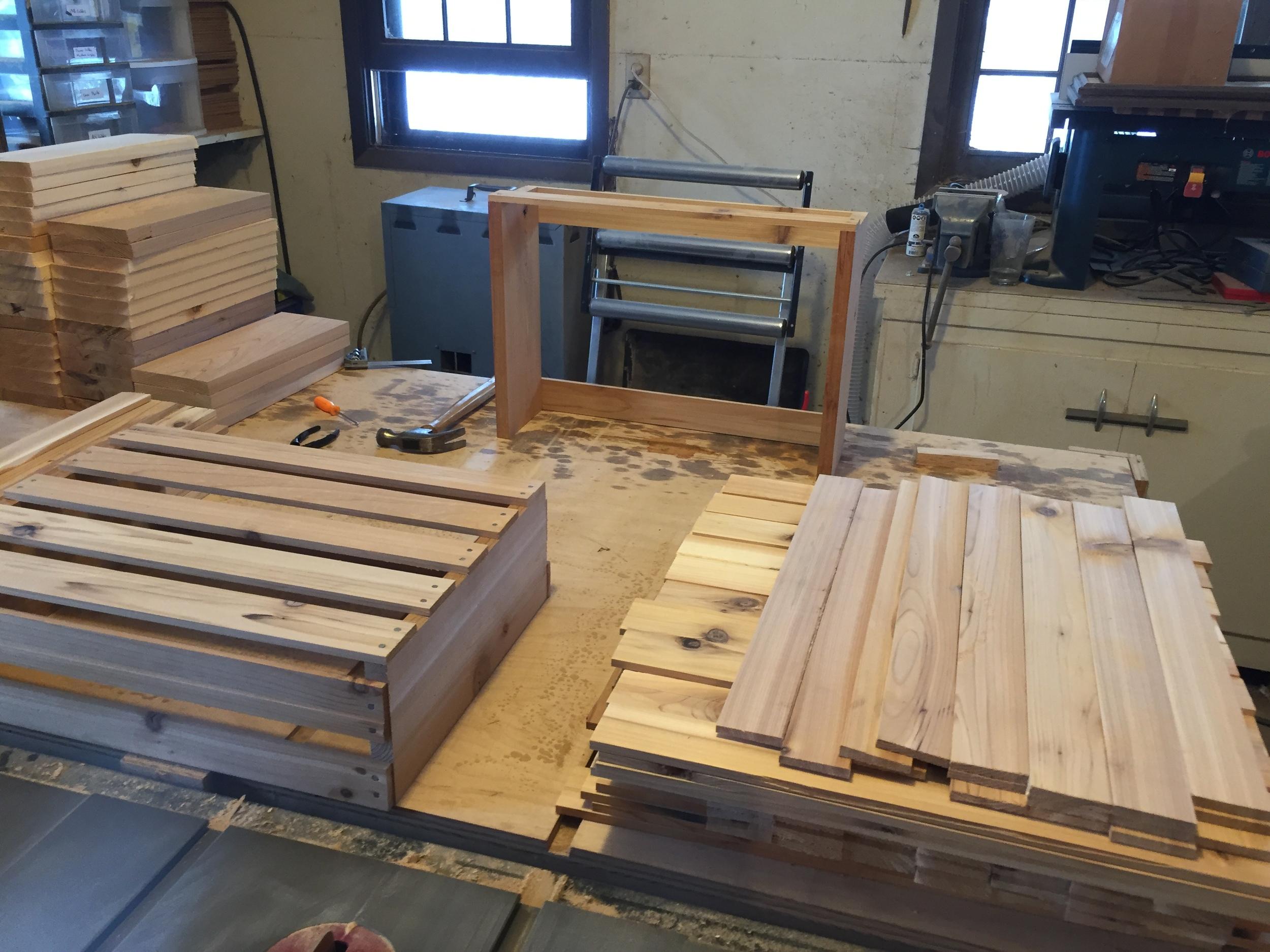 Cedar crate assembly process.