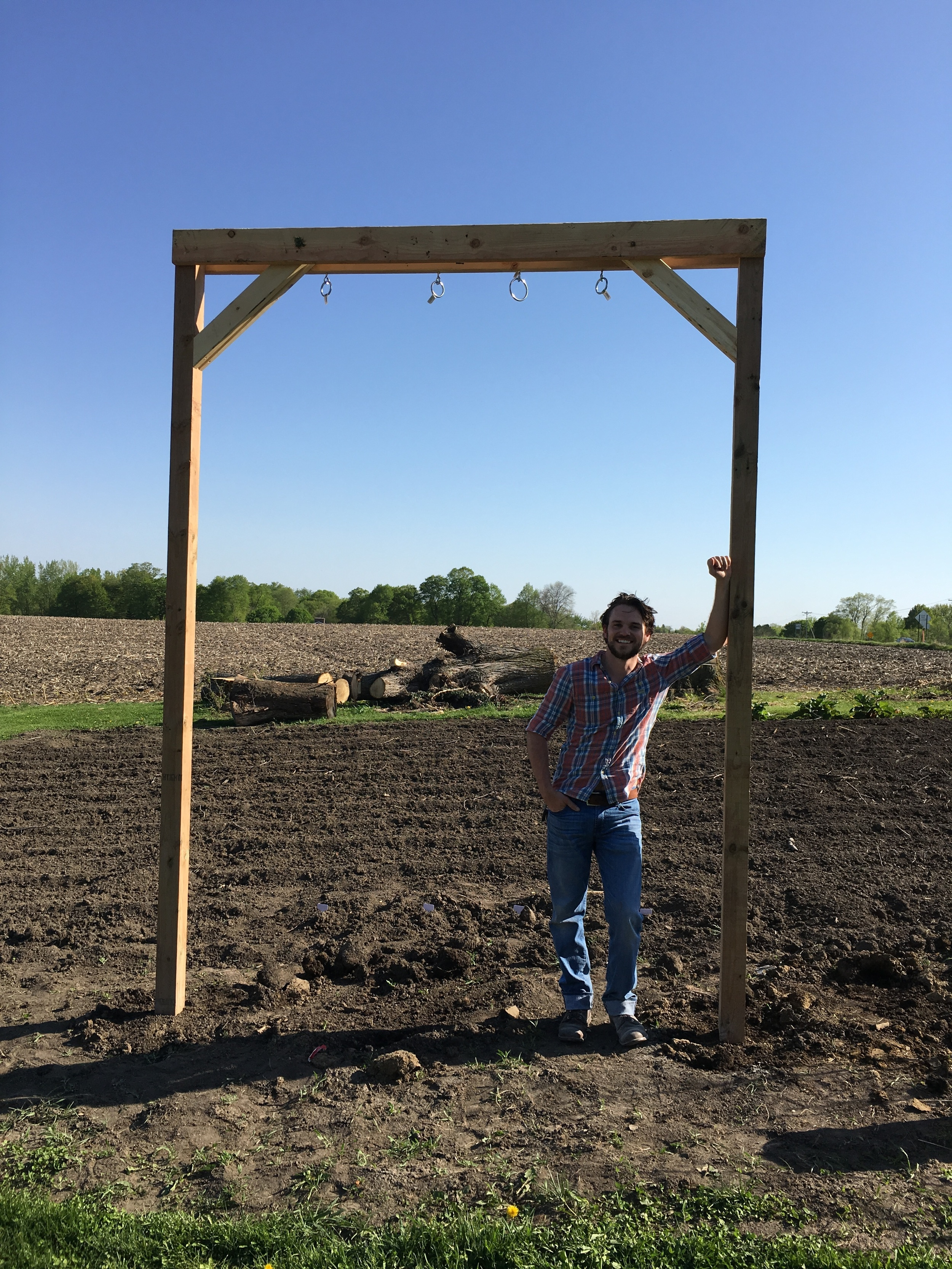 Thanks to the help of some very good friends, I was able to complete my hops trellis install. Anyone know a good home brewer that wants free hops?!